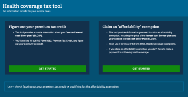 The first page of the old tax tools app.
