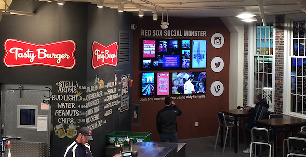 Image of the Social Monster event display inside of Fenway Park